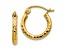 14k Yellow Gold Diamond-cut 2mm Round Tube Hoop Earrings