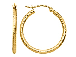 14k Yellow Gold Diamond-cut 2mm Round Tube Hoop Earrings