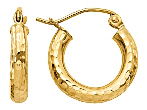 14k Yellow Gold Diamond-cut 3mm Round Hoop Earrings