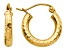 14k Yellow Gold Diamond-cut 3mm Round Hoop Earrings