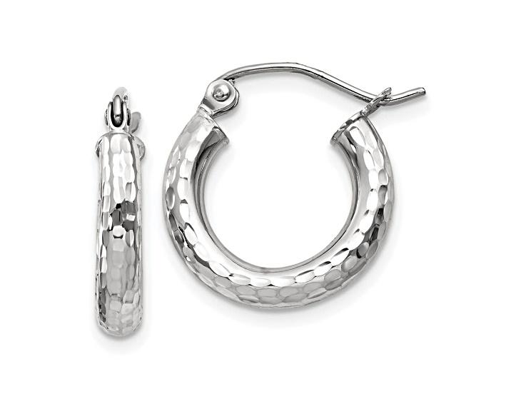 14k Yellow Gold Diamond Cut 3MM Hoop Earrings