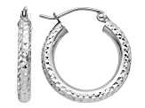 14k White Gold Diamond-cut 3mm Round Hoop Earrings
