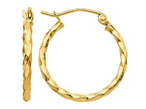 14k Yellow Gold Twist Polished Hoop Earring