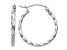 14k White Gold Twist Polished Hoop Earring