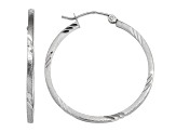 14k White Gold Satin and Diamond-cut Square Tube Hoop Earrings