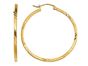 14k Yellow Gold Satin and Diamond-cut Square Tube Hoop Earrings
