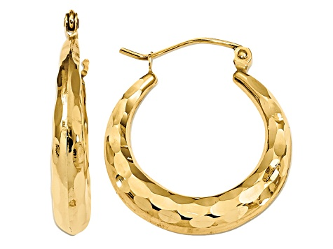 14k Yellow Gold Polished and Diamond-cut Hoop Earrings