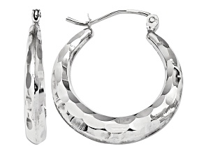 14k White Gold Polished and Diamond-cut Hoop Earrings
