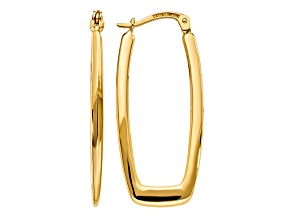 14k Yellow Gold Polished 2.25mm Rectangle Hoop Earrings