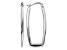14k White Gold Polished 2.25mm Rectangle Hoop Earrings