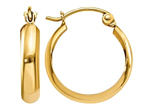 14k Yellow Gold Polished 3.5mm Hoop Earrings