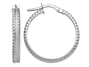 14K White Gold Polished and Satin Ridged Edge Concave Hoop Earrings