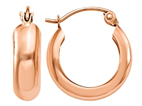 14k Rose Gold Polished Bangle Small Hoop Earrings