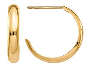 14k Yellow Gold Polished 3.5mm J-Hoop Earrings