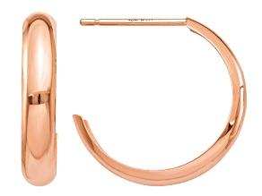 14k Rose Gold Polished Bangle Hoop Earrings