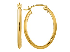 14k Yellow Gold 2mm Oval Hoop Earrings
