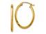 14k Yellow Gold 2mm Oval Hoop Earrings