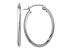 14k White Gold Polished Oval Tube Hoop Earrings
