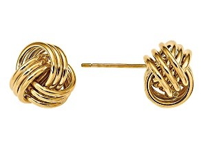 14k Yellow Gold Polished Triple Love Knot Post Earrings