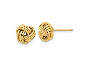 14k Yellow Gold Polished Triple Love Knot Post Earrings