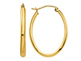 14k Yellow Gold 3mm Oval Hoop Earrings