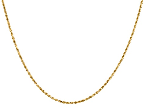 14k Yellow Gold 1.50mm Diamond Cut Rope with Lobster Clasp Chain 18""