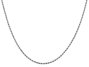 14k White Gold 1.5mm Diamond Cut Rope Chain 30