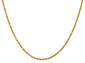 14k Yellow Gold 2mm Diamond Cut Rope with Lobster Clasp Chain 18