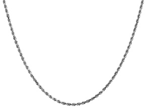14k White Gold 2mm Diamond Cut Rope Chain 26