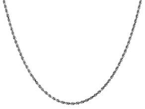 "14k White Gold 2mm Diamond Cut Rope Chain 28"""
