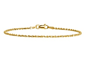 14k Yellow Gold 1.50mm Diamond-cut Rope with Lobster Clasp Chain. Available in sizes 7 or 8 inches.