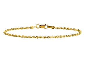 14k Yellow Gold 1.75mm Diamond-cut Rope with Lobster Clasp Chain. Available in sizes 7 or 8 inches