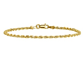 14k Yellow Gold 2mm Diamond-cut Rope with Lobster Clasp Chain. Available in sizes 7 or 8 inches.