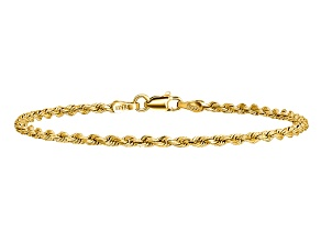 14k Yellow Gold 2.25mm Diamond-cut Rope with Lobster Clasp Chain. Available in sizes 7 or 8 inches.