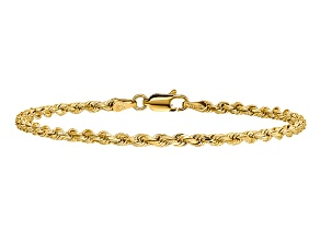 14k Yellow Gold 2.75mm Diamond-cut Rope with Lobster Clasp Chain. Available in sizes 7 or 8 inches