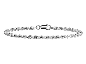 14k White Gold 2.75mm Diamond-cut Rope with Lobster Clasp Chain. Available in sizes 7 or 8 inches