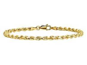 14k Yellow Gold 3.2mm Diamond-cut Rope with Lobster Clasp Chain. Available in sizes 7 or 8 inches.