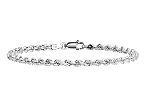 14k White Gold 3.2mm Diamond-cut Rope with Lobster Clasp Chain. Available in sizes 7 or 8 inches.