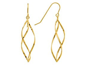 14k Yellow Gold Swirl Dangle Earrings