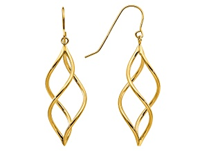 14k Yellow Gold Swirl Dangle Earrings