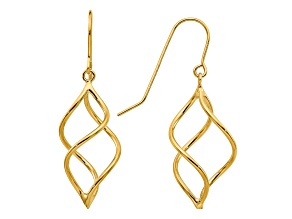 14k Yellow Gold Polished Short Twisted Dangle Earrings