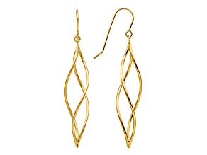 14k Yellow Gold Polished Long Twisted Dangle Earrings