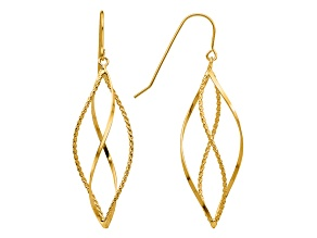 14k Yellow Gold Polished and Textured Twisted Dangle Earrings
