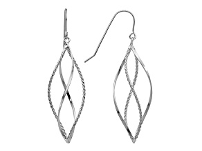 14k White Gold Polished and Textured Twisted Dangle Earrings