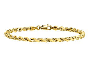 14k Yellow Gold 3.5mm Diamond-cut Rope with Lobster Clasp Chain. Available in sizes 7 or 8 inches.