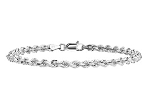 14k White Gold 3.5mm Diamond-cut Rope with Lobster Clasp Chain. Available in sizes 7 or 8 inches