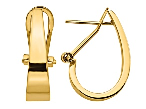 14k Yellow Gold Polished J-Hoop Omega Back Post Earrings
