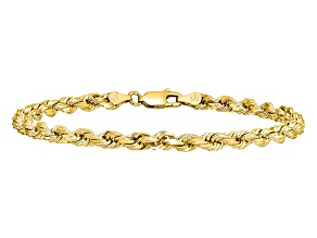 14k Yellow Gold 4mm Diamond-cut Rope with Lobster Clasp Chain. Available in sizes 7, 8 or 9 inches