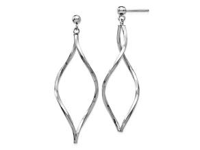 14k White Gold Twisted Post Dangle Earrings