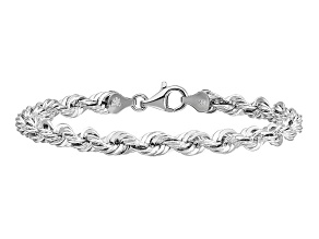 14k White Gold 5.5mm Diamond-cut Rope with Lobster Clasp Chain 8 inches
